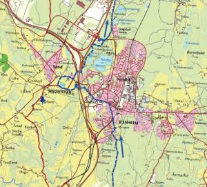 Den nye leia er merka i blått. Trykk på bildet for å sjå heile kartet og den nye merkinga.